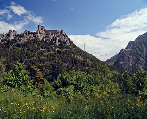 The 13thcentury Cathar Chteau Puilaurens   Aude France  LanguedocRoussillon