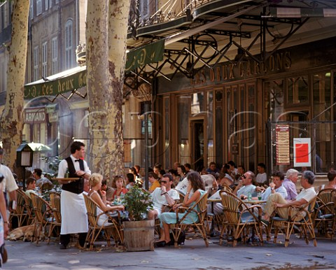 The terrace of Les Deux Garons most famous of the cafs on the Cours Mirabeau in AixenProvence  BouchesduRhne France  Provence