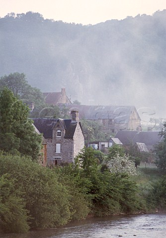Misty morning at Le Vey on the River Orne near Clecy Calvados France  Basse Normandie