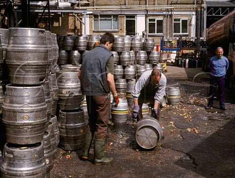 Unloading and decorking empty beer barrels at Youngs Ram Brewery Wandsworth London