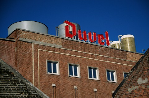 Sign for Duvel beer on roof of the Moortgat  Brewery Breendonk Belgium