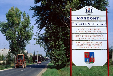 Welcome sign on road into the wine town   of BalatonBoglar Hungary