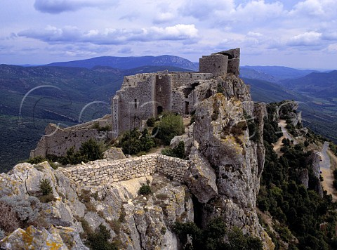 Ruins of the Cathar castle of Peyrepertuse   Aude France