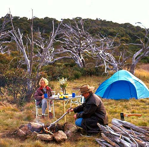 Camping in the Snowy Mountains Kosciuszko National Park New South Wales Australia