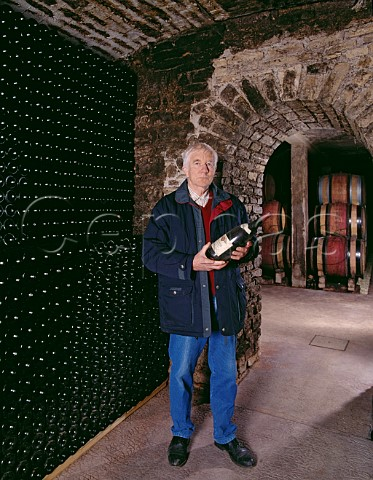 Michel Lafarge died 2020 with a magnum of Clos des Chnes in his cellars Volnay Cte dOr France Cte de   Beaune