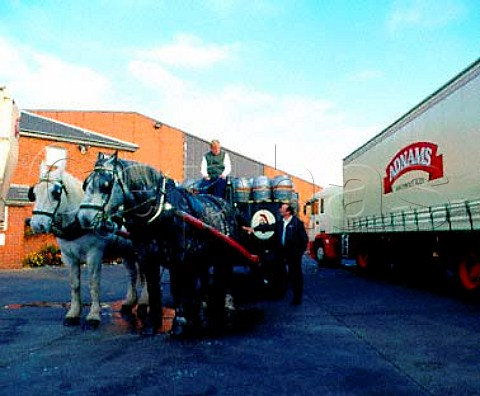 Dray Horses and lorry of Adnams Brewery Southwold Suffolk England