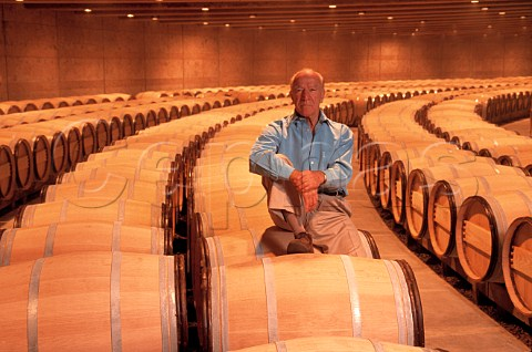 Robert Mondavi died 2008 in the Opus One barrel room Oakville Napa Valley California