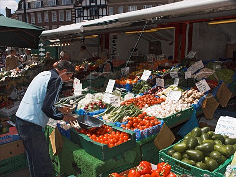 Fruit and vegetable stall in Kingston market   Kingston upon Thames Surrey