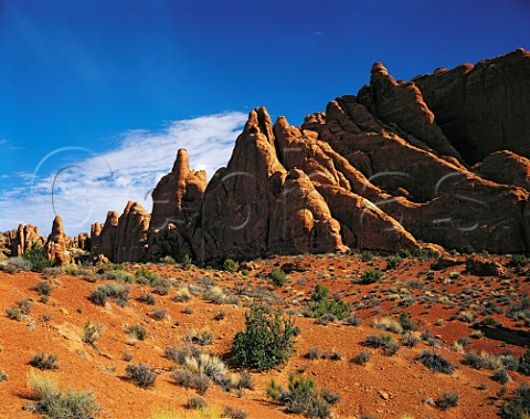 Sandstone formations near the Fiery Furnace Arches   National Park Utah USA