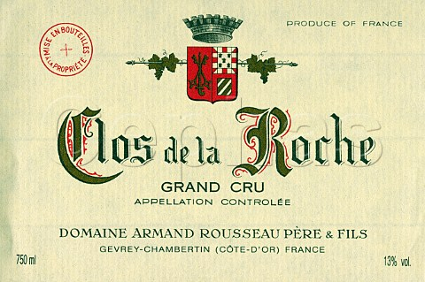 Wine label from bottle of Armand Rousseau Grand Cru   Clos de la Roche MoreyStDenis Cte dOr France