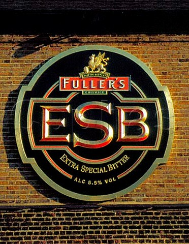 Sign for Fullers ESB beer outside their Griffin   Brewery Chiswick London