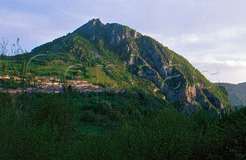 Cathar chteau above the village of   Montsgur Arige France