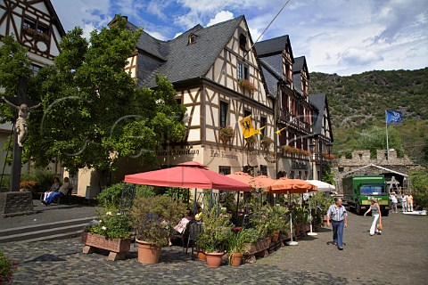Terrace restaurant tables in the wine town of   Oberwesel Germany  Mittelrhein