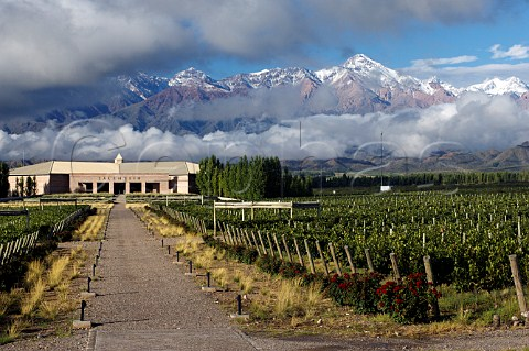 Bodegas Salentein winery and vineyard with snowcapped Andes mountains behind Tunuyan Mendoza Argentina