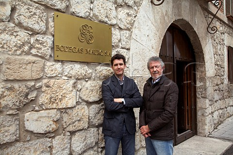 Mariano Garca with his son Mauro Alberto Garca outside the old stone winery of Bodegas Mauro in Tudela de Duero near Valladolid Castilla y Len Spain