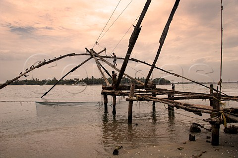 Chinese fishing nets along the northern shore of Fort Cochin Kochi Cochin Kerala India