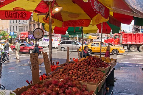 Fruit and vegetable stall in Canal street Chinatown New York USA