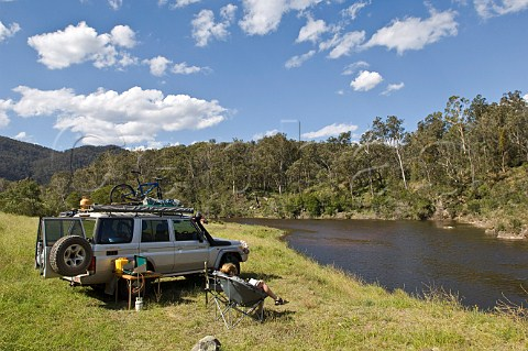 Camping along the Snowy River Jacksons Crossing Snowy River National Park Victoria Australia