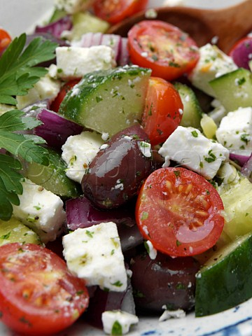 Close up of a bowl of Greek salad