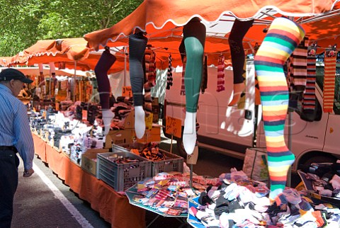 Stockings and socks for sale on a market stall in Amboise IndreetLoire France