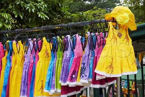 Childrens dresses for sale on market stall Amanzimtoti KwaZuluNatal South Africa