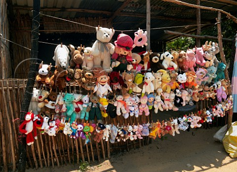 Roadside stall selling childrens soft toys Ponta do Ouro southern Mozambique