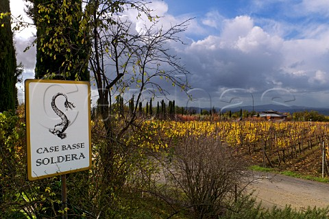 Sign at entrance to Case Basse vineyard of Gianfranco Soldera Montalcino Tuscany Italy Brunello di Montalcino