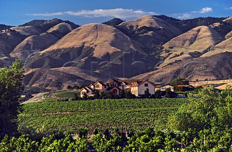 Wolff Vineyards and winery with the Santa Lucia Mountains beyond San Luis Obispo California Edna Valley