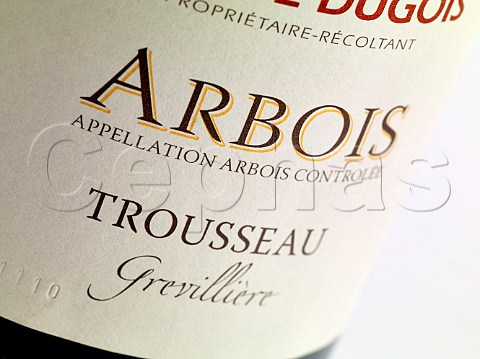 Label on bottle of Grevillire Trousseau of Domaine Daniel Dugois Les Arsures Jura France Appellation Arbois Controle