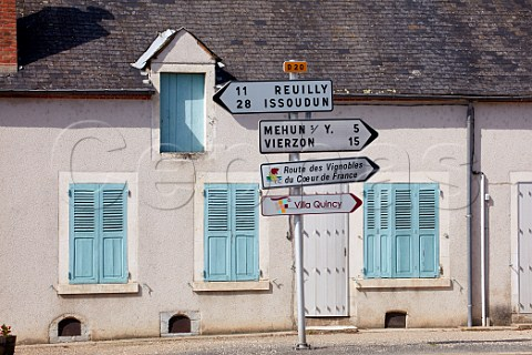 Road signs in the wine village of Quincy Cher France  Quincy