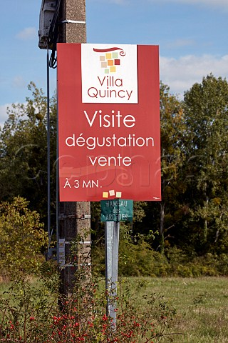 Sign for Villa Quincy in the wine village of Quincy Cher France  Quincy
