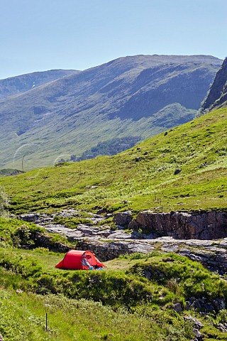 Camping by the River Etive in Glen Etive Argyllshire Scotland