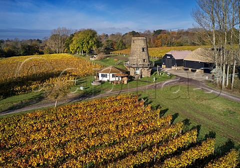 Old windmill and tasting room of Nutbourne Vineyards Sussex England